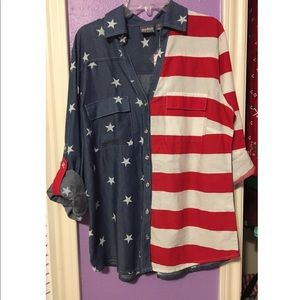New York & Company Patriotic Roll-up Sleeve Shirt